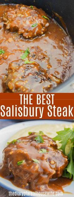 This is a simple and easy dinner recipe that my entire family loved. dinner recipes for family Easy Salisbury Steak - The Diary of a Real Housewife Salbury Steak Recipes, Hamburger Meat Recipes Easy, Recipes For Round Steak, Dinner Ideas Hamburger Meat, Quick Beef Recipes, Healthy Recipes, Meatloaf Recipes, Cooker Recipes, Ground Beef Recipes For Dinner