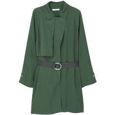 COPA Trenchcoat gruen ($86) ❤ liked on Polyvore featuring outerwear, coats, green trench coats, trench coat and green coat