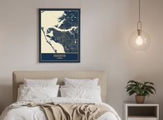BRADENTON FL Map Art   Canvas Wall Art for Home Decor - Rolled (for Framing) / 11x14 Inches