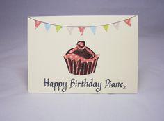 Personalised birthday card,Name Birthday card,own name birthday card, cake birthday card, cupcake birthday card, bunting card, cupcake gift by QuillPaperScissors on Etsy
