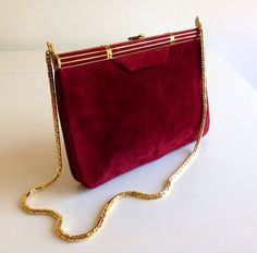 Vintage Judith Leiber Suede 1970s Wine Colored Purse w by CoutureArabesque, $395.00