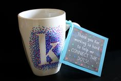 MUST PIN! Easy, dotted mugs for PERFECT teacher appreciation gifts! Full tutorial plus a free printable! by Designer Trapped in a Lawyer's Body. #teacherappreciation #sharpiemugs