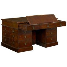 Table Furniture, Cool Furniture, Dressing Table Desk, Partners Desk, Large Desk, Sand Casting, Writing Table, Storage Design