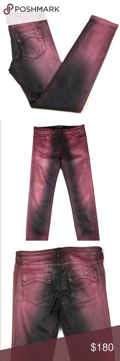 ROBERTO CAVALLI Coated Skinny Jeans Luxury jeans, stunning burgundy and black color. Slight shimmer coated material. Soft and stretchy. These make your butt look amazing. Flattering fit! Authentic. Roberto Cavalli Jeans