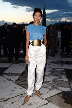 Goga Ashkenazi at the Fondazione Cini, Isola Di San Giorgio dinner party in Venice, Italy.  Same top, different trousers. Love both looks!