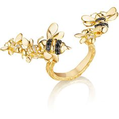 Mimi So Wonderland 18K Gold Open-Shank Bee Ring ($7,800) ❤ liked on Polyvore featuring jewelry, rings, bee ring, yellow gold rings, gold band ring, bumble bee jewelry and 18k yellow gold ring
