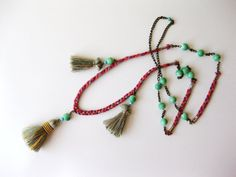 NEW DESIGN Long Tribal Necklace with Tassels// by YellowRoseShoppe, $25.00
