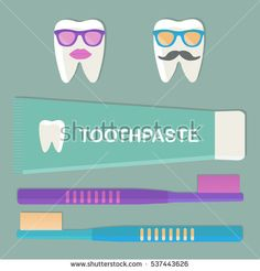 Toothbrushes and toothpaste. Protection of teeth. Character for advertisement. Vector illustration.