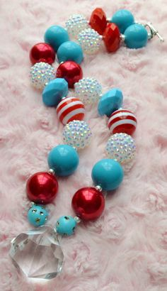 Dr. Seuss Inspired - Chunky Beaded Bubblegum Necklace - Turquoise - Red - White - Clear - Diamond Pendant on Etsy, $13.50