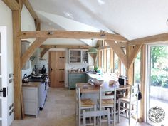 Living the oak dream, oak framing in Surrey. An oak extension on a semi house, giving additional living space and large kitchen. Brick Extension, Glass Extension, Extension Google, Side Extension, Extension Ideas, Garden Room Extensions, House Extensions, Kitchen Extensions, Timber Roof