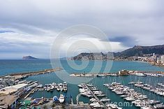 Sea port and yacht club of Calpe, Alicante, Spain in cloudy weather