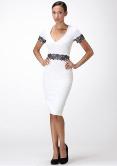 One Hottie Mama  - V-neck Pencil Dress with Lace, $49.90 (http://stores.onehottiemama.com/v-neck-pencil-dress-with-lace/)