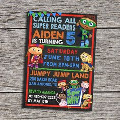 127 best super why party images on pinterest super why birthday super why birthday party invitation digital by dottydigitalparty filmwisefo