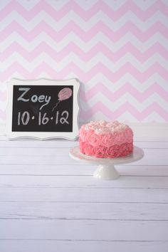 Cake smash cake. Pink ombré for a 1year old photo shoot