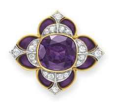Lot 122 - AN ANTIQUE AMETHYST, DIAMOND AND ENAMEL BROOCH, BY MARCUS & CO. -- Set with a cushion-cut amethyst, within an old European-cut diamond and purple enamel foliate surround, mounted in 18k gold, circa 1900 -  Signed Marcus & Co. - sold at auction $11,250