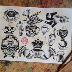 Image result for traditional coffee tattoo