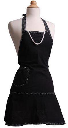 Little Black Dress needs a Little Black Dress Apron to keep it clean while you host your next party!  #flirtyaprons