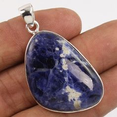 Pure 925 Sterling Silver Delicate Pendant Natural SODALITE Gemstone Manufacturer #Unbranded #Pendant