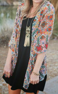 Chiffon kimono with a little dress...gotta wean myself off of hot days and tiny sundresses soon!
