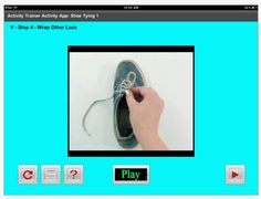 Shoe Tying 1 app from Accelerations Educational Software Motor Planning, Activities Of Daily Living, Educational Software, Tie Shoes, Parenting, Teaching, How To Plan, Apps, Occupational Therapy