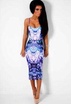 Hesitation Purple Floral Bodycon Midi Dress