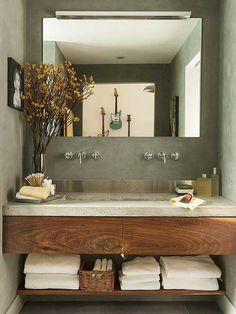 Love this bathroom! ......but not the guitars on the wall.....