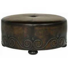 Upholstered Accents Sheridan Round Leather Ottoman by Bernhardt at Godby Home Furnishings