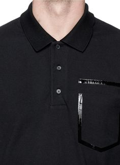 GIVENCHY - Heat seal faux pocket polo shirt | Black Short Sleeves Polos | Menswear | Lane Crawford