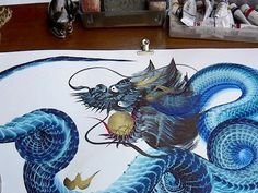 Image result for teal dragon painting