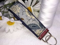 Blue Gray Fabric Key Fob, Navy Blue Wristlet Keychain, Cream Flowers and Vines, Fabric Keyring, Key Holder, Affordable Mother's Day Gift by PhenomenalWomenShop on Etsy