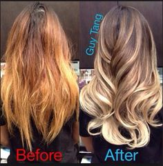Guy Tang brassy to toned ash blonde ombre
