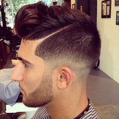 mixed bald fade with a comb over...we love!