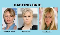 """We start with the """"cold one"""" Brie. Based in one of my favorite Type A personality in fiction #breevandekamp #sarapaxton, #kristenbell,and #emiliederavin are my choices for this 'beloved' character."""