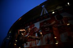 A general view of the Dennis Bergkamp statue outside the stadium before the FA Cup Third Round match between Arsenal and Hull City at Emirates Stadium on January 4, 2015 in London, England