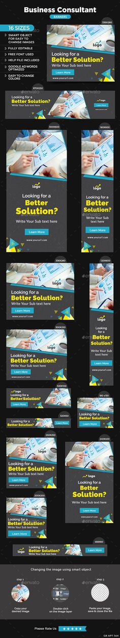 Buy Business Consultant Banners by Hyov on GraphicRiver. Promote your Products and services related to consulting niche with this great looking Banner Set. Google Banner, Website Promotion, Buy Business, Google Ads, Banner Template, Consultant, Betta, Banner Design, Advertising