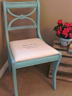 Scripture Chair... What a great way to get guests talking at the dinner table
