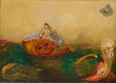 The Birth of Venus (ca. 1912) by Odilon Redon (b. Bertrand-Jean Redon, 20 April 1840; Bordeaux, France – d. 6 July 1916; Paris, France) Oil on canvas, 33.3 × 46.3 cm.  The Pola Museum of Art, Hakone, Ashigarashimo District, Kanagawa Prefecture, Japan https://en.wikipedia.org/wiki/Odilon_Redon