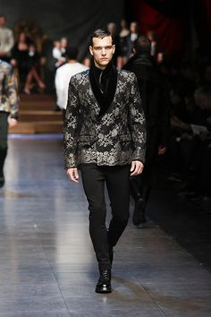 Velvet and metallic lace-print jacket from Dolce&Gabbana's Winter 2016 Men's Fashion Show.