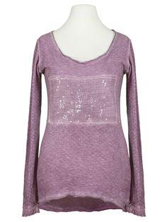 Damen Long Shirt mit Pailletten, lavendel von Calzonie Italy   meinkleidchen Damenmode aus Italien Shirts & Tops, Sweaters, Fashion, Lavender, Sequins, Italy, Fashion Women, Cotton, Gowns