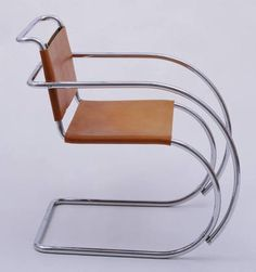 Mies MR20 chair in light brown leather