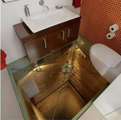 How do you add the ultimate talking point to an interior.add a glass floor! I so love the idea of glass floor panels and bridges that link different spaces! This one would scare the s out of anyone! Unique Bathroom Sinks, Unusual Bathrooms, Modern Bathroom Design, Amazing Bathrooms, Dream Bathrooms, Bathroom Designs, Bathroom Vanities, Bathroom Ideas, 3d Floor Art