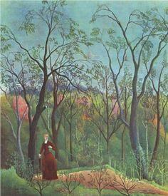Henri Rousseau (1844 - 1910) | Naïve Art (Primitivism) | The Walk in the Forest  - 1890