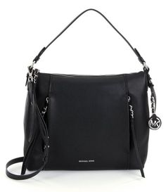 MICHAEL Michael Kors Black Leather Corinne Large Shoulder Bag Purse New NWT $378 #MichaelKors #ShoulderBag