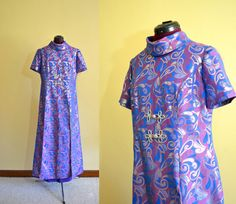 1960s Vintage Mod Purple and Silver Caftan by TabbysVintageShop