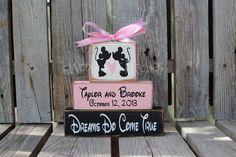 Mickey Minnie Mousea Personalized Established Name Monogram Block Set sign wood block set
