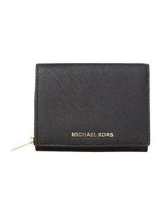 Jetset travel black bi fold zip around purse