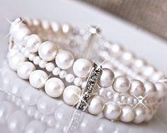 Wedding Cuff Bracelet, Bridal Bracelet, Freshwater Pearl Bracelet. Sterling Silver Wedding Jewellery. Vintage Style Wedding Jewellery.