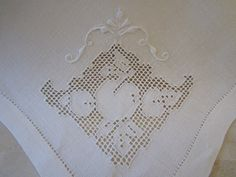 4 Vintage Linen Open Cut Work Napkins  by JewelsOfHighElegance, $10.00
