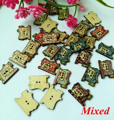 100pcs Lovely Sewing Machine Wood Buttons 2 Holes DIY Knopf Bouton For for Scrapbooking Craft Sewing Supplies *** Want additional info? Click on the image.