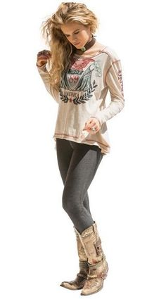 Brands :: Double D Ranch :: DOUBLE D RANCH FALL 2013 AMERICAN HONOR TEE! - Cowgirl Kim|Ladies Western Wear|Cowgirl Fashion|Double D Ranch|Unique High End Western Fashions|Turquoise Jewelry|Southwestern Jewelry